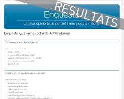 """Resultat de l'enquesta """"Què opines del Web de l'Acadèmia?"""""""